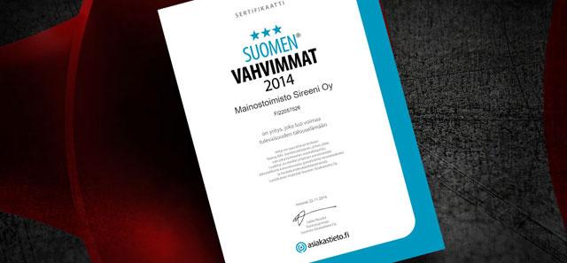 Sireenille Suomen Vahvimmat -sertifikaatti