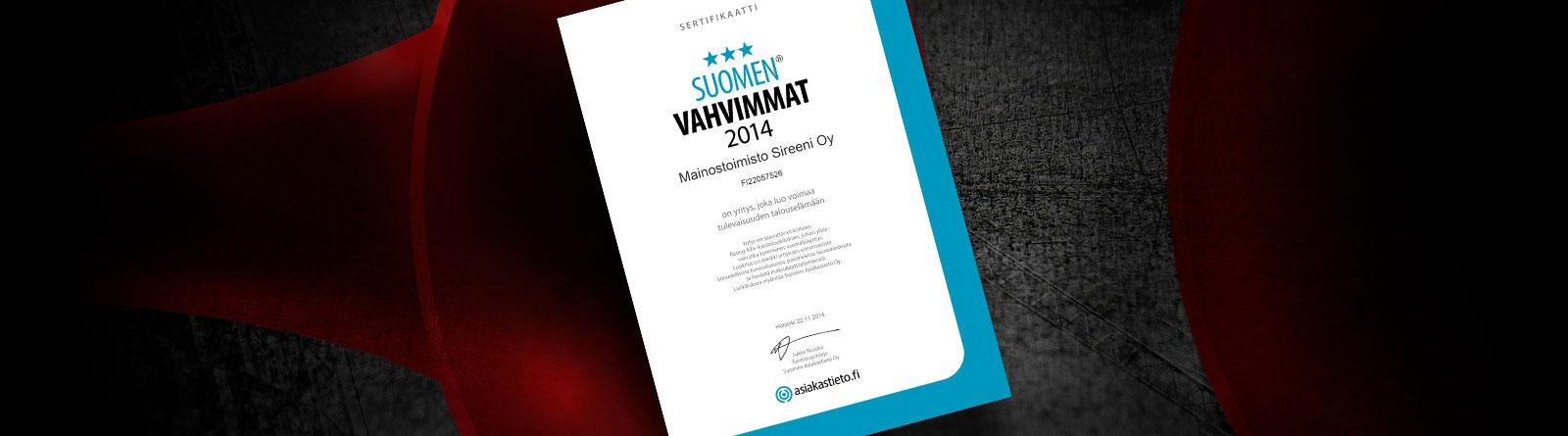 Mainostoimisto Sireenille Suomen Vahvimmat -sertifikaatti