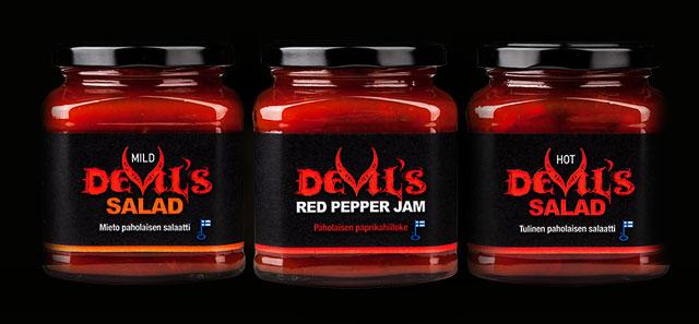 Devil's Salad- ja Devil's Red Pepper Jam -tuoteperheen ilmeen suunnittelu