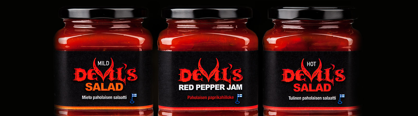 Herkkumaan Devil's Salad ja Devil's Red Pepper Jam -tuoteperheen ilmeen suunnittelu